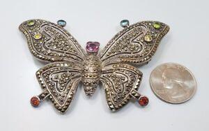 Sterling Silver 925 Marcasite Garnet Citrine Peridot Amethyst Butterfly Brooch
