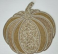 New listing Haymarket Square Beaded Pumpkin Placemat Fall Charger Thanksgiving Placemat (F3)