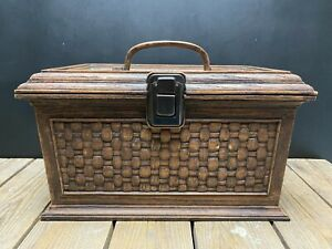 Vintage Lerner Sewing Box Plastic Weaved Craft Basket Hobby With Sew Notions