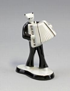 9986191 Porzellan Figur Katze Akkordeon Musiker 50er Jahre Stil H13,5cm