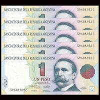 Lot 5 PCS, Argentina 1 Pesos, ND(1994), P-339,UNC, Banknotes, Original