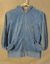 W5209 Juicy Couture Junior Girls Large Blue/White Embellished Zip Up Hoodie