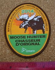 2014 ONTARIO MNR MOOSE HUNTING PATCH badge,flash,crest,deer,bear,elk,Canadian