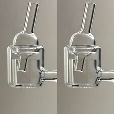 100% Thermal Quartz Banger (LOT OF 2) 14mm MALE Joint+2 Rotational Carb Caps*Wax