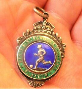 Vintage Glasgow West District Sterling Silver & Enamel Football Fob Medal 1932