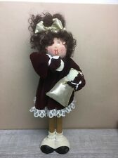Kathy Kids Brunette Doll Burgundy Velour Dress Hand-made with Love In Laguna CA