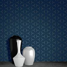 Metro Illusion Geometric Wallpaper Blue / Gold - WOW005 World of Metallic