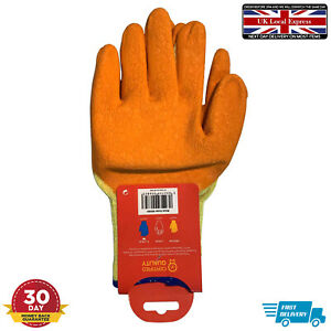 Winter latex coated Full Finger work Gloves Adults Stretch Knitted Warm SofteBay
