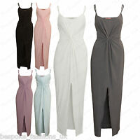 Ladies Women's Strappy Front Slit Sleeveless Ruched Knot Midi Bodycon Dress 4-14