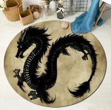 Retro Black Dragon Round Home Floor Mat Rug Bedroom Living Room Carpet Area Rug