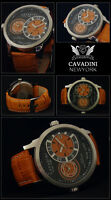 de luxe DUAL TIME - Cavadini Montre Homme Série New York en orange NEUF