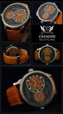 LUXUS DUAL TIME - CAVADINI HERREN UHR  SERIE NEW YORK  IN ORANGE NEU