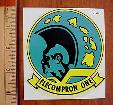 "VINTAGE US NAVY FLECOMPRON ONE  4"" x 3 3/4"" WATER DECAL NOS ORIGINAL PACKAGE"