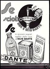 OLIO D'OLIVA DANTE GENOVA COSTA BOTTIGLIA LATTA CONFEZIONE  1951