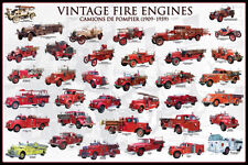 Vintage Fire Engines Poster Print, 36x24