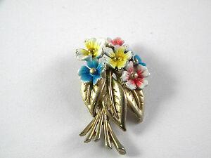 Enamel Flower Bouquet Vintage Jewelry Pin
