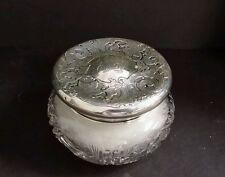 Sterling Silver American Brilliant Glass Powder Jar with Powder Puff Antique