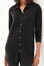 J.Jill  Button Front Knit Tunic   3X  NWT   BLACK