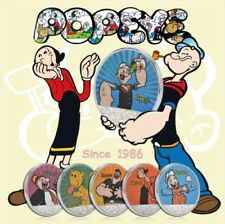 Popeye The Sailor Man & Friends 6-Coin Set Colored Silver Plated Coin