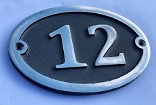 Cast Aluminium Oval House Door Number Sign Address Solid Metal