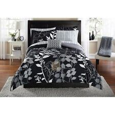King Size Black Grey Comforter Set Reversible Leaf Pattern 8 Piece w/ Sheets