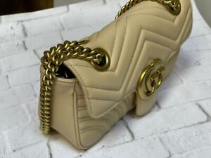 Gucci GG Marmont Mini Crossbody Leather Matlasse Shoulder Bag