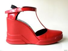 new $995 PRADA red Spazzolato leather T-strap carved rubber WEDGES shoes 39 US 9