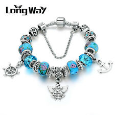 Silver Glass Beads Bracelet With Blue Crystal European Charms Fit Women S