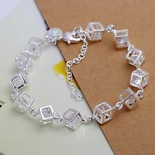 925 Sterling Silver Plated Fashion Woman Box Austrian crystal Bracelet Jewelry