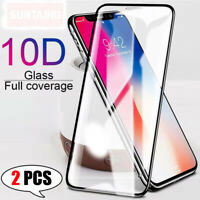 [2-Pack] For iPhone 11 Pro Max XS XR 8 FULL 10D Tempered Glass Screen Protector