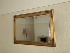 Beautiful Vintage Large Ornate Gold Gilt Framed Wall Mirror With Bevelled Edge
