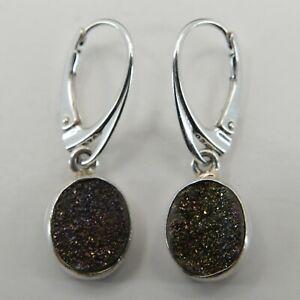 Natural DRUZY / Druse / Drusy Quartz Earrings 925 STERLING SILVER Leverback #15