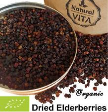 Organic Dried Elderberries (Sambucus Nigra) Premium Quality Natural Fruit Tea