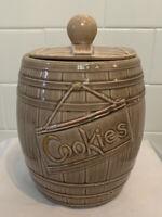 Vintage Antique MCM 1950's McCoy Ceramic Whiskey Barrel Cookie Jar with Lid