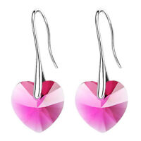 one pair of crystal heart pendant earrings Rose red O5D5