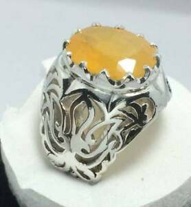 Big Yellow Sapphire Ring Sterling Silver 925 Handmade Oval Sapphire Pukhraj Ring