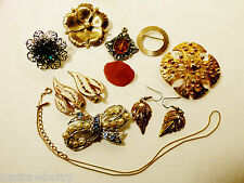 Mixed Lot of 10 gold & silver tone metal Pin Brooch Earrings chain Necklace ring