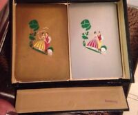 Vintage Bridge Card Case Germany with 2 packs US Playing Cards gold silver