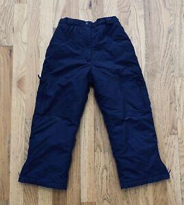 LL Bean Kids Youth Ski Snow Pants Size Medium 6-7 Navy Blue Insulated Boys Girls