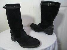 N.D.C WOMENS BLK DISTRESSED SUEDE HAND MADE PULL ON  MID-CALF BOOTS EU 38 US 7.5