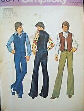 Vintage Simplicity Pattern 6644 Vest Buckle Back Jeans Teen Boy Size14-16 NOS