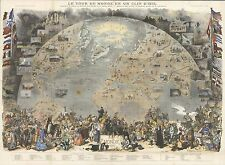 1876 Antique Map POSTER Pictorial view world view from space indigenous 8030000
