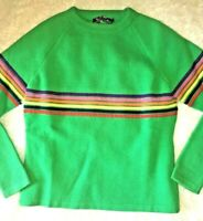 VTG 70s 80s SKI SWEATER MEISTER GREEN RAINBOW STRIPES BOHO RETRO HIPPIE XS S