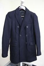 Zara Woman Wool Blend Dark Navy Double Breasted Lined Blazer Size - XS