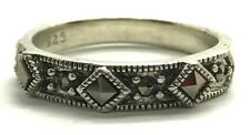 Vintage Oxidized Sterling Silver Spike Pyramid Marcasite Dotted Cocktail Ring 6