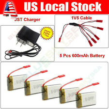 5pcs 3.7V 600mAh Lipo Battery Power Sets+Balance Charger For JXD 509W 509G 510G
