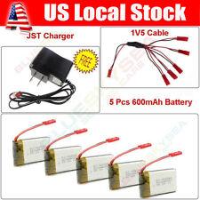 5pcs 3.7V 600mAh Lipo Battery Power Sets+Balance Charger For JXD 509W 509G 510G