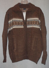 TOOTAL MENS HORIZONTAL JACQUARD DESIGN ZIPPERED CARDIGAN SWEATER SIZE L NWT