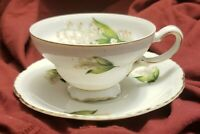 Hinode China Teacup and Saucer Lily of the Valley Pattern