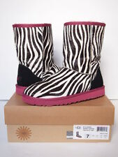 UGG AUSTRALIA Classic Short EXOTIC ZEBRA Boots WOMEN 7 Leather Sheepskin Pink